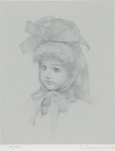中山忠彦「メダルのフランス人形(B)」版画