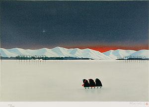 斎藤真一「二本木の雪」版画