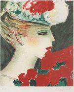 カシニョール「バラとプロフィール」版画34×28.5cm