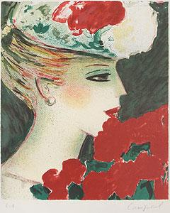 カシニョール「バラとプロフィール」版画