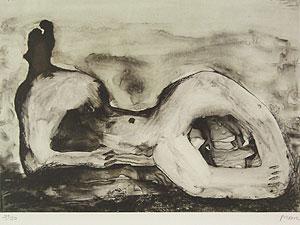 ヘンリー・ムーア「Reclining Figure Cave」版画