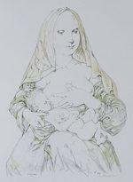 藤田嗣治「赤いヴェールの聖母」版画59.6×42.2cm