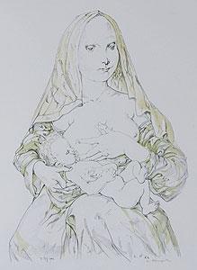 藤田嗣治「赤いヴェールの聖母」版画