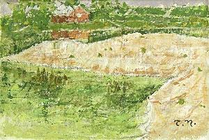 中谷泰「風景」油彩