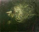 鴨居玲「月に叫ぶ」油彩3号