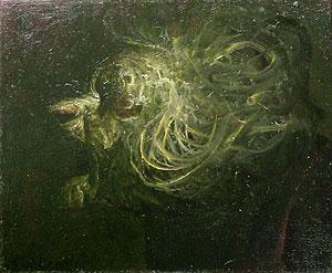 鴨居玲「月に叫ぶ」油彩