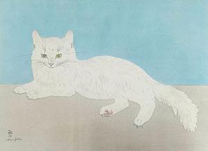 藤田嗣治「白い猫」木版画