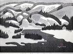斎藤清「会津の冬(63)麻生」木版画37.8×52.8cm