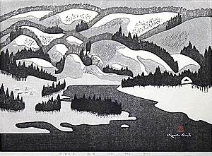 斎藤清「会津の冬(63)麻生」木版画