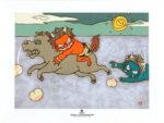 瀧下和之「鬼ヶ島でハイドードー。」陶板画19.8×24.8cm