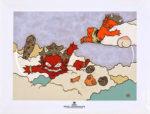 瀧下和之「鬼ヶ島で夢心地。」陶板画19.8×24.8cm