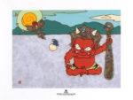 瀧下和之「鬼ヶ島で巣立つ。」陶板画19.8×24.8cm