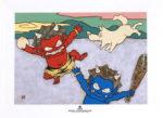 瀧下和之「鬼ヶ島でワンワンワン。」陶板画19.8×24.8cm