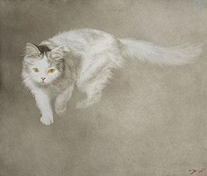 藤井勉「歩(猫)」油彩