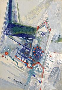 西村計雄「シャルトルの寺院」油彩