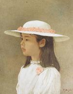 藤井勉「花の帽子」油彩5号