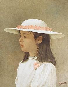 藤井勉「花の帽子」油彩
