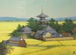 朝比奈隆「斑鳩秋色」油彩20号