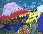 片岡球子「富士」工藝画23.6×30.8cm