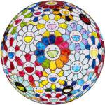 村上隆「中央に虹のある風景」版画 直径71cm