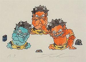 瀧下和之「鬼ヶ島で勝負。」版画
