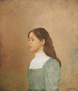 藤井勉「少女」油彩