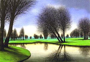 ジャック・デペルト「ゴルフ場の夕暮れ」油彩