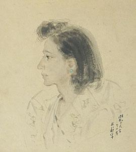 宮本三郎「婦人像」水彩