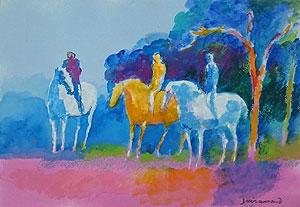 ポール・ギヤマン「乗馬」水彩