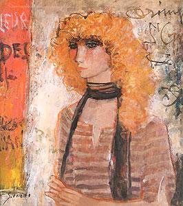 今井幸子「パリの街角にて」油彩