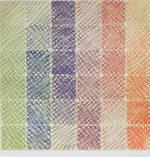 百瀬寿「Green to Orange on Yellow」版画100×100cm