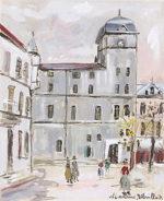 モーリス・ユトリロ「古びた中学校」版画31.5×25.5cm