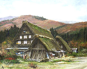 林喜市郎「奥飛騨白川郷合掌造りの家」油彩
