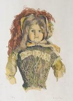 小磯良平「貴婦人の人形」版画38×29cm