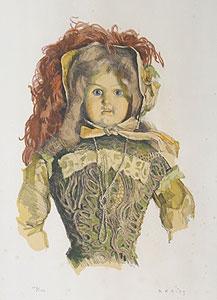 小磯良平「貴婦人の人形」版画