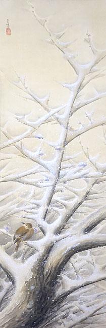 榊原紫峰「雪中紅梅図」日本画