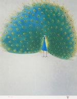 杉山寧「孔雀」版画50×41cm