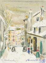 モーリス・ユトリロ「街の眺め」版画26.5×19cm