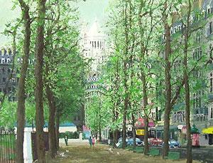 小田切訓「モンマルトルの並木」油彩