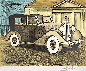 ベルナール・ビュッフェ「灰色のロールスロイス 1937」版画