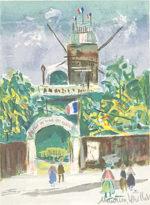 モーリス・ユトリロ「新緑のムーラン・ド・ラ・ギャレット」版画26.1×19cm