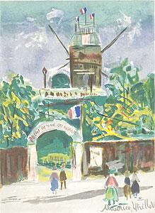 モーリス・ユトリロ「新緑のムーラン・ド・ラ・ギャレット」版画