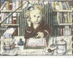 藤田嗣治「小説家:四十雀より」版画32.8×45cm