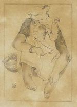 田村能里子「とびらえ」鉛筆デッサン20×14cm