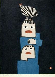 畦地梅太郎「鳥のこえ」木版画