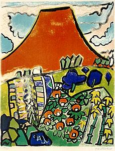 片岡球子「うららかな富士」版画