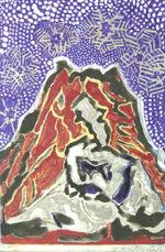 片岡球子「雪:めでたき富士より」版画36.8×26.8cm