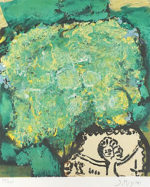 三岸節子「花(緑と黄)」版画45.5×38cm