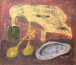 脇田和「貝殻のある卓上」油彩8号
