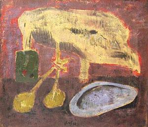 脇田和「貝殻のある卓上」油彩